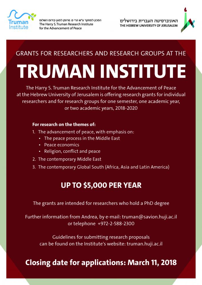GRANTS FOR RESEARCHERS AND RESEARCH GROUPS AT THE Truman institute