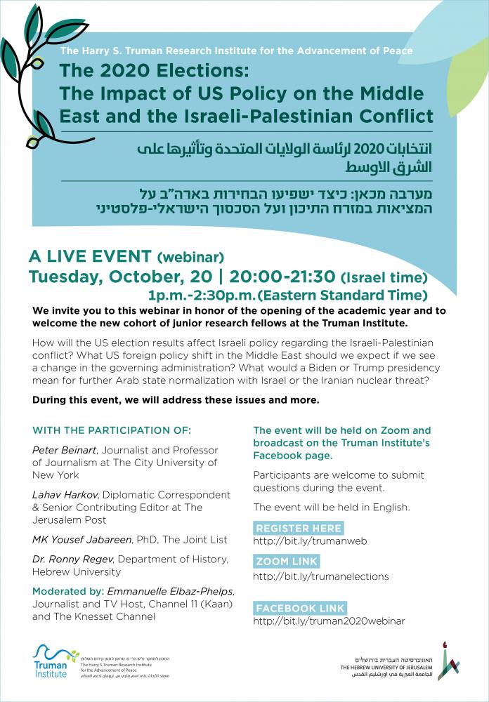 Webinar Flyer - The US Elections and Its Impact on the Middle East